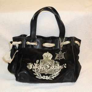 Juicy Couture Daydreamer Black Velour Tote